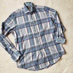 Thomas Dean plaid button front shirt C